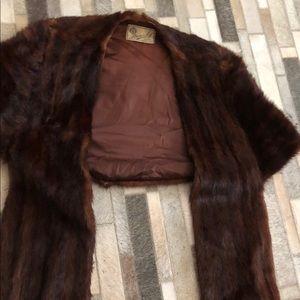 Jackets & Blazers - Mink fur stole wrap cape dark coat jacket